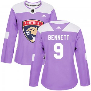 Women's Florida Panthers Sam Bennett Adidas Authentic Fights Cancer Practice Jersey - Purple