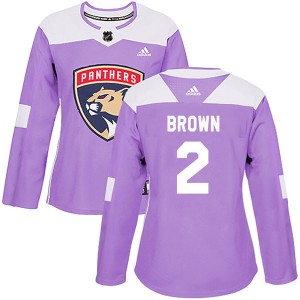 Women's Florida Panthers Josh Brown Adidas Authentic Fights Cancer Practice Jersey - Purple