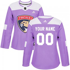 Women's Florida Panthers Custom Adidas Authentic ized Fights Cancer Practice Jersey - Purple