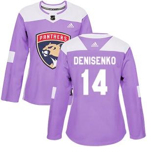 Women's Florida Panthers Grigori Denisenko Adidas Authentic Fights Cancer Practice Jersey - Purple