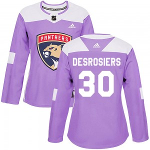 Women's Florida Panthers Philippe Desrosiers Adidas Authentic ized Fights Cancer Practice Jersey - Purple