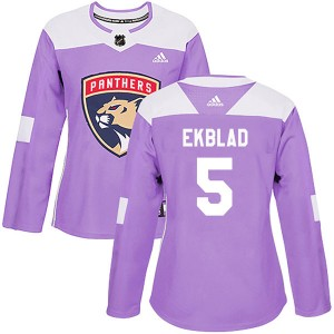Women's Florida Panthers Aaron Ekblad Adidas Authentic Fights Cancer Practice Jersey - Purple
