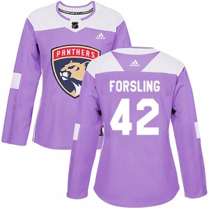 Women's Florida Panthers Gustav Forsling Adidas Authentic Fights Cancer Practice Jersey - Purple