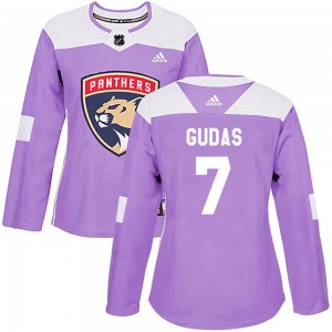 Women's Florida Panthers Radko Gudas Adidas Authentic Fights Cancer Practice Jersey - Purple