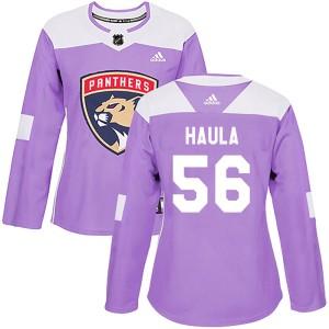 Women's Florida Panthers Erik Haula Adidas Authentic ized Fights Cancer Practice Jersey - Purple