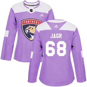 Women's Florida Panthers Jaromir Jagr Adidas Authentic Fights Cancer Practice Jersey - Purple