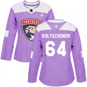 Women's Florida Panthers Vladislav Kolyachonok Adidas Authentic Fights Cancer Practice Jersey - Purple