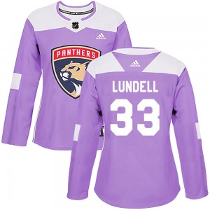 Women's Florida Panthers Anton Lundell Adidas Authentic Fights Cancer Practice Jersey - Purple