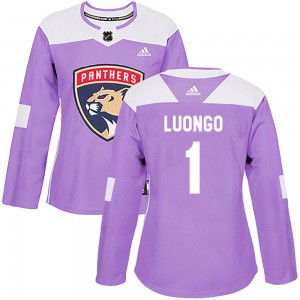 Women's Florida Panthers Roberto Luongo Adidas Authentic Fights Cancer Practice Jersey - Purple