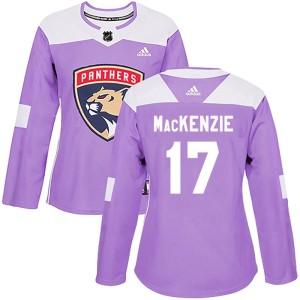 Women's Florida Panthers Derek Mackenzie Adidas Authentic Derek MacKenzie Fights Cancer Practice Jersey - Purple