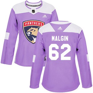 Women's Florida Panthers Denis Malgin Adidas Authentic Fights Cancer Practice Jersey - Purple