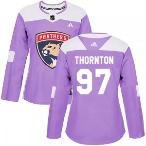 Women's Florida Panthers Joe Thornton Adidas Authentic Fights Cancer Practice Jersey - Purple