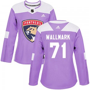 Women's Florida Panthers Lucas Wallmark Adidas Authentic ized Fights Cancer Practice Jersey - Purple