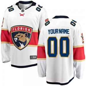 Men's Florida Panthers Custom Fanatics Branded ized Breakaway Away Jersey - White
