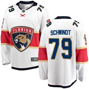 Men's Florida Panthers Cole Schwindt Fanatics Branded Breakaway Away Jersey - White