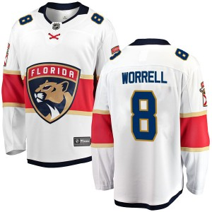Men's Florida Panthers Peter Worrell Fanatics Branded Breakaway Away Jersey - White