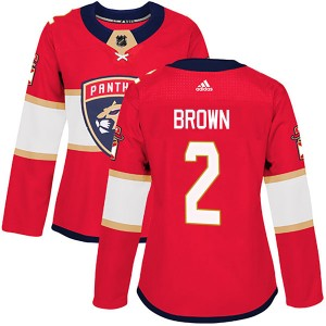 Women's Florida Panthers Josh Brown Adidas Authentic Home Jersey - Red