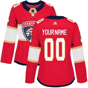 Women's Florida Panthers Custom Adidas Authentic ized Home Jersey - Red