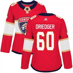 Women's Florida Panthers Chris Driedger Adidas Authentic Home Jersey - Red