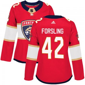 Women's Florida Panthers Gustav Forsling Adidas Authentic Home Jersey - Red
