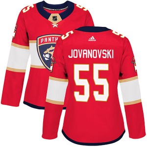 Women's Florida Panthers Ed Jovanovski Adidas Authentic Home Jersey - Red