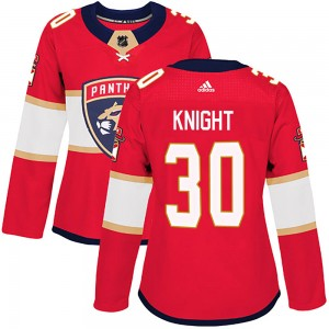 Women's Florida Panthers Spencer Knight Adidas Authentic Home Jersey - Red