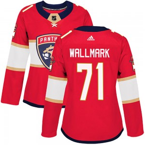 Women's Florida Panthers Lucas Wallmark Adidas Authentic ized Home Jersey - Red
