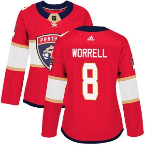 Women's Florida Panthers Peter Worrell Adidas Authentic Home Jersey - Red
