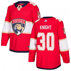 Men's Florida Panthers Spencer Knight Adidas Authentic Home Jersey - Red