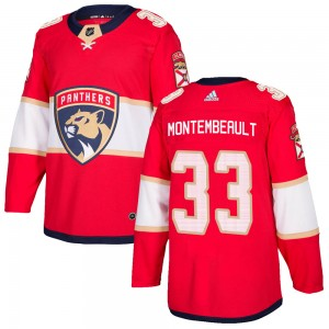 Men's Florida Panthers Sam Montembeault Adidas Authentic Home Jersey - Red