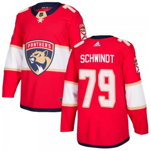 Men's Florida Panthers Cole Schwindt Adidas Authentic Home Jersey - Red