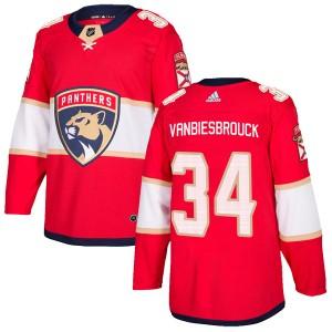 Men's Florida Panthers John Vanbiesbrouck Adidas Authentic Home Jersey - Red