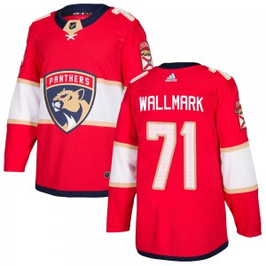 Men's Florida Panthers Lucas Wallmark Adidas Authentic ized Home Jersey - Red