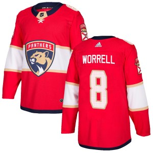 Men's Florida Panthers Peter Worrell Adidas Authentic Home Jersey - Red