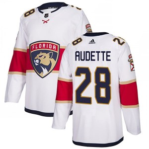 Men's Florida Panthers Donald Audette Adidas Authentic Away Jersey - White
