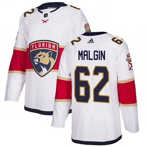 Men's Florida Panthers Denis Malgin Adidas Authentic Away Jersey - White