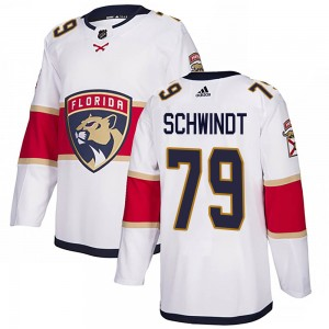 Men's Florida Panthers Cole Schwindt Adidas Authentic Away Jersey - White