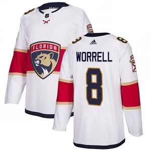 Men's Florida Panthers Peter Worrell Adidas Authentic Away Jersey - White
