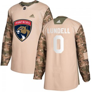 Men's Florida Panthers Anton Lundell Adidas Authentic Veterans Day Practice Jersey - Camo