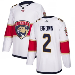 Youth Florida Panthers Josh Brown Adidas Authentic Away Jersey - White