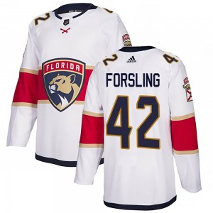 Youth Florida Panthers Gustav Forsling Adidas Authentic Away Jersey - White