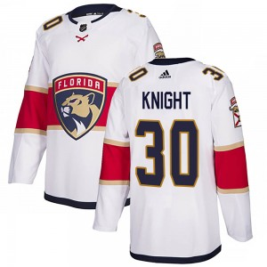 Youth Florida Panthers Spencer Knight Adidas Authentic Away Jersey - White
