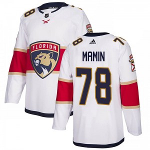 Youth Florida Panthers Maxim Mamin Adidas Authentic Away Jersey - White