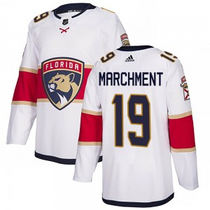 Youth Florida Panthers Mason Marchment Adidas Authentic Away Jersey - White