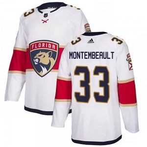 Youth Florida Panthers Sam Montembeault Adidas Authentic Away Jersey - White