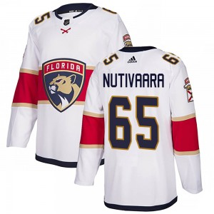 Youth Florida Panthers Markus Nutivaara Adidas Authentic Away Jersey - White