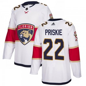 Youth Florida Panthers Chase Priskie Adidas Authentic Away Jersey - White