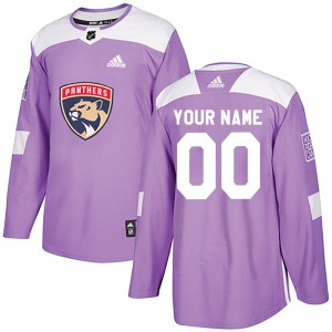 Men's Florida Panthers Custom Adidas Authentic ized Fights Cancer Practice Jersey - Purple