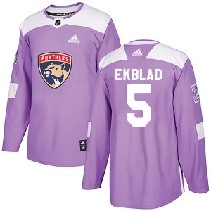 Men's Florida Panthers Aaron Ekblad Adidas Authentic Fights Cancer Practice Jersey - Purple