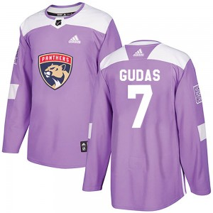 Men's Florida Panthers Radko Gudas Adidas Authentic Fights Cancer Practice Jersey - Purple
